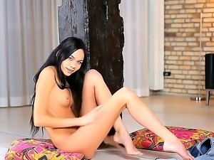 Exceptional long haired brunette Jasmin teases us with her bodys curves and...