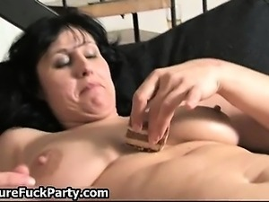 Horny ripe old mature whores lick tits part1