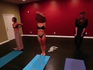 Kinky babes are getting horny after attending to yoga class along other horny...