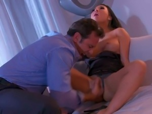 Prettied up asian babe Asa Akira in barely there black