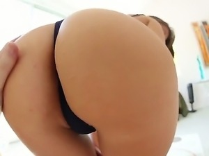 Horny slut whose name is Riley Reid shows her big ass and gorgeous body