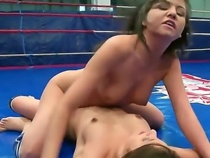 Horny wild brunettes Connie and Karen strip each other while fighting and...