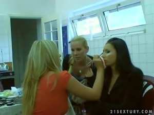 Sandy and Lorna, hot and sensual pornstar babes really enjoy in getting ready...
