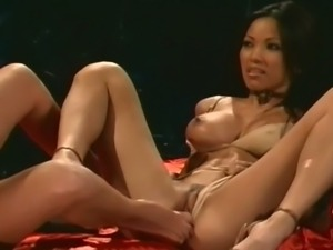 Asian brunette and blonde bitch play lesbian games