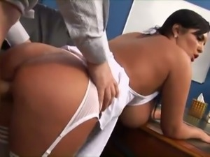 Big titted brunette takes it up the ass