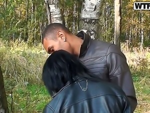 Delicious teen Lina visits the woods with two black dudes for a quick round...