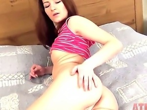 Young Lina amazes with her naughty pussy getting deep masturbated in wild solo