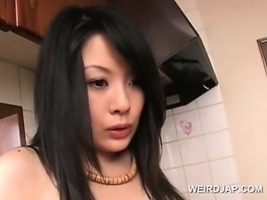 Close-up with hairy asian pussy fucked with sex toy