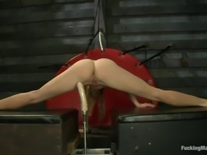 hot ass flexible blonde fucked by a machine