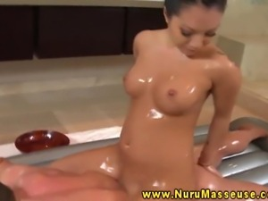 Asian babes tugging and sucking during erotic massage