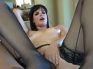Pretty naughty horny slut Bobbi get her cunt and butt super drilled by a long...