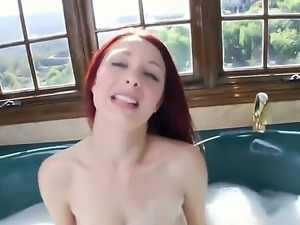 Horney Jessica gets her monster natural boobs massaged by his guy in the bath...