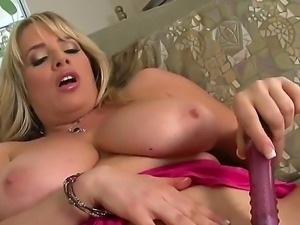 Naughty blonde chick with very big boobs Maggie Green is passionately moaning...