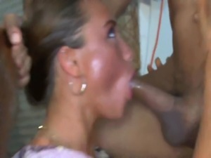 Real hungry CFNM euros sucking dick at this hot party