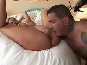 Horny blonde babe Anne enjoys the feeling of a huge cock deep inside her...