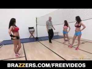 Group of sporty sluts compete for their trainer's big-dick free