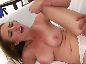 Young innocent looking pale brunette babe Sam Summers with big natural boobs...