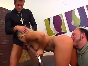 Hot hardcore threesome. Staring Cali Carter and Ryan McLane. This blonde...