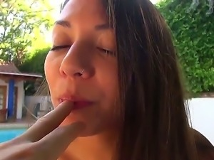 Cute and playful hottie Indica Reign takes off tiny bikini on eyes of lucky...