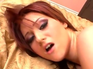 Young balls sucking redhead slut Cameron Love with natural boobs and heavy...