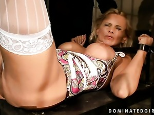 Blonde Winnie with giant breasts asks her man to stick his thick tool in her...