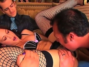 Gorgeous cutie Jewel enjoys her pussy eaten nad banged hard by a stud on a couch
