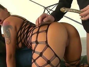 Sinful chick Simony Diamond stays in black fishnet suit before starting to...
