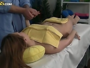 Young tempting brunette babe Viola with medium boobs and firm round bums gets...