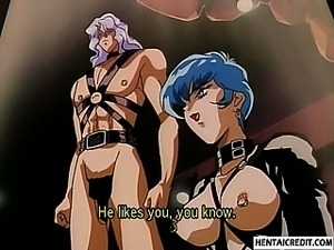 Caught hentai girl in chains sucks and gets fingered