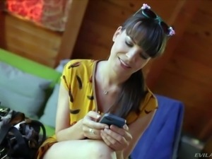 Arousing and hot dark haired pornstar hottie Dana DeArmond enjoys in giving...