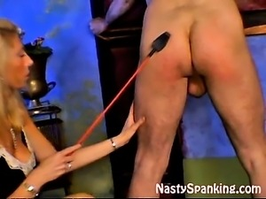 Blonde milf spanking husband