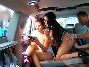 Two seductive MILFs Diamond Kitty and Phoenix Marie rent out a limo to enjoy...