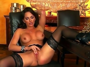 Stunning glamorous black haired bombshell Destiny Dixon with arousing heavy...