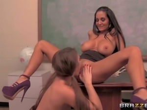 Ava Addams is a gorgeous big boobed lesbian woman that has nice sex with two...
