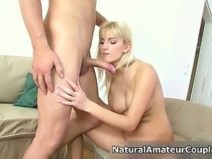 Nasty amateur blonde slut gets horny