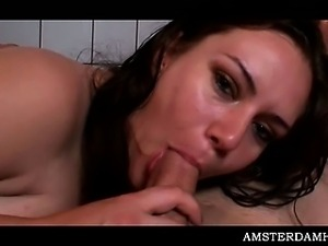 Amsterdam sex queen sucking prick and taking it deep in