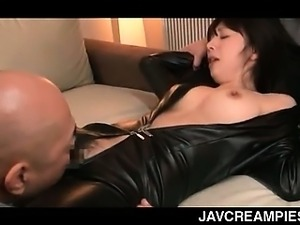 Asian tramp in latex cunt licked and mouth fucked in group