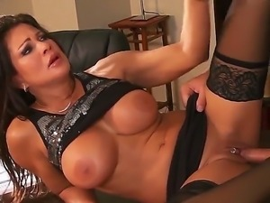 Big titted MILF in black stockings Teri Weigel enjoys being boned by Keiran...