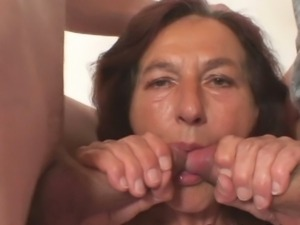 Old bitch pounded by two young dudes