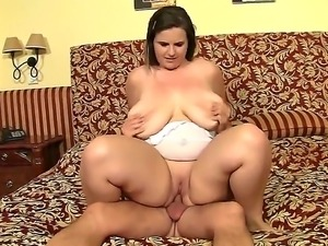 Lovely, plump gal Maggie B moans while receiving her lovers fat boner down...