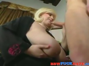 Fat cougar seduce young guy