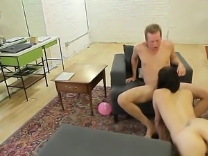 A lovely young brunette sucks a cock like a pro, then takes a bigger, blacker...