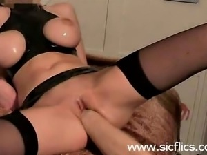 Busty amateur chick gets brutally fisted and fucked with a large dildo in her...