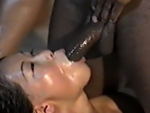 Hot action in a bathtub with Asian girl and a black guy