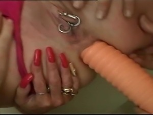 Blonde perverse mature slut gets pounded by 3 guys, her pierced pussy was...