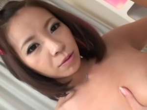 japanese boy shoves his face in girl's tits