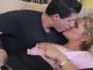 Hot blonde housewife got banged with young and horny male.