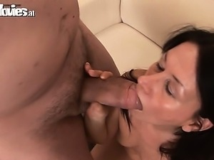 This horny mature mom gets fucked two men