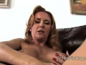 Big stacked cougar Janet Mason gets pumped deep in interracial POV