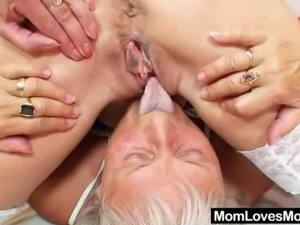 Old granny gets naughty at her age plus another amateur mom. They inserting...